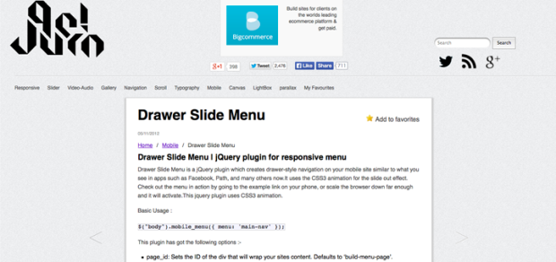 Facebookでおなじみのドロワーメニューを実装できるjQueryプラグン「Drawer Slide Menu」!