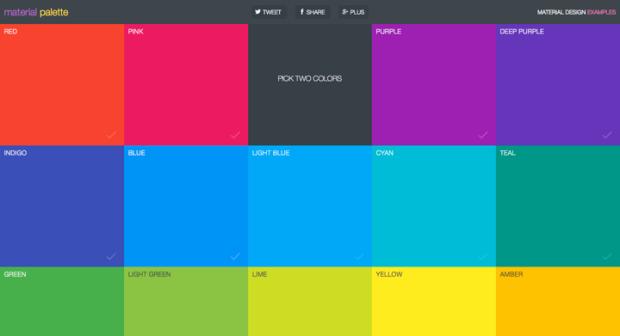 二色選ぶと相性のいい配色を選んでくれるサイト「Material Palette」!