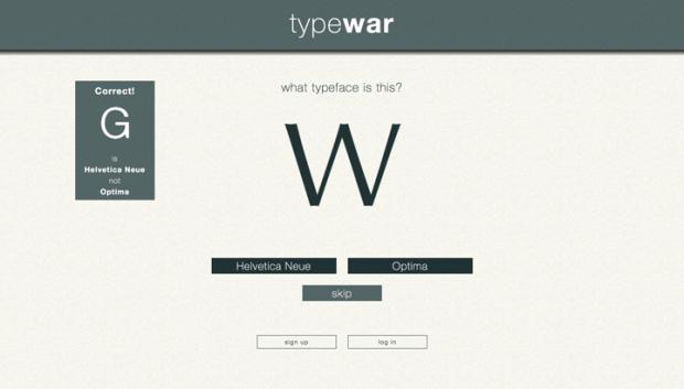 どっちのフォントか当てるゲーム「typewar」!