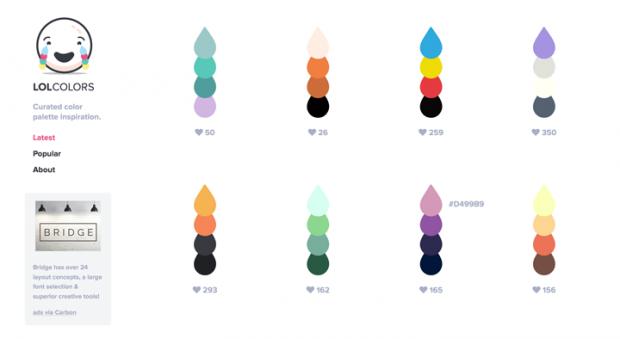4色の色の組み合わせを集めたサイト「LOL Colors」!