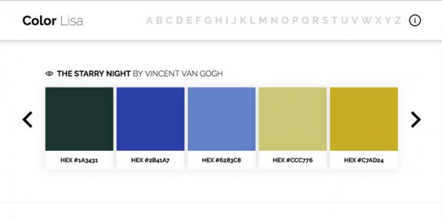 芸術家の名画から配色を集めたサイト「Color Lisa」!