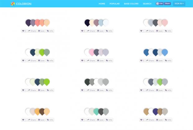 タグや検索の機能が充実したカラーパレットを集めたサイト「COLORION」!