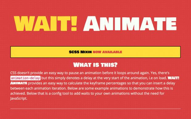待機時間も設定できるCSS3アニメーションのコードを生成できるサイト「WAIT! Animate」!
