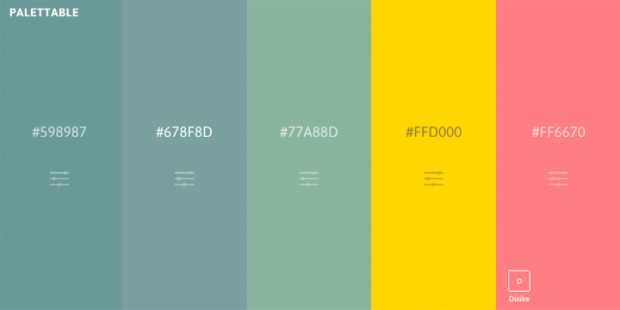 好き嫌いを選択するだけでカラーパレットを作れるサイト「Palettable」!