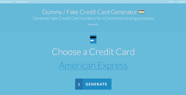 ダミーのクレジットカード番号を生成してくれるサイト「Dummy / Fake Credit Card Generator」!