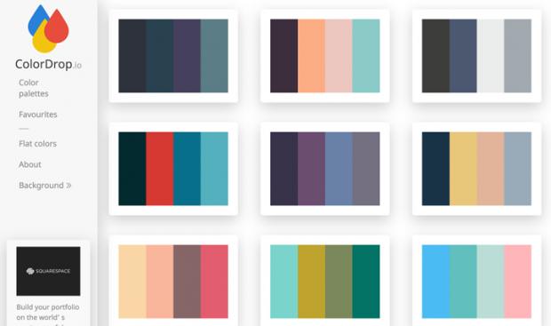 4色のカラーパレットをコレクションしているサイト「ColorDrop」!