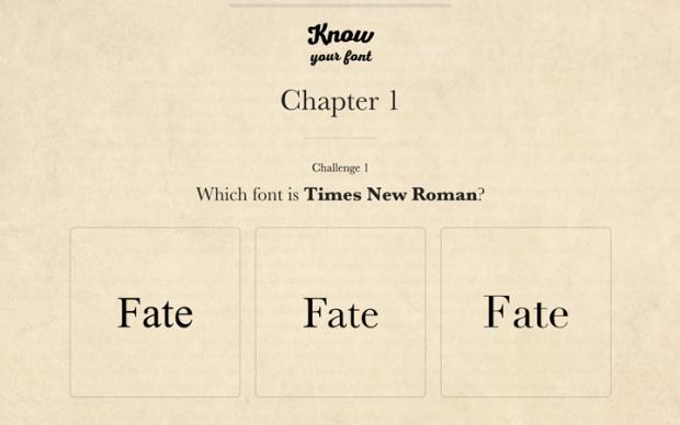 このフォントがどれか当てるゲーム「Know Your Font」!