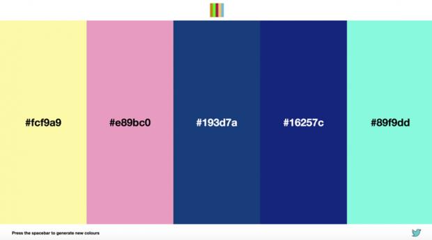 5色のカラーパレットをランダムに生成してくれるサイト「Random Color Palettes」!