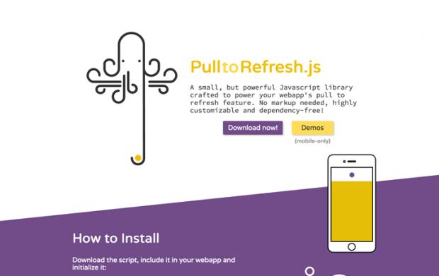 スマホで画面下部に引っ張って更新が実装できるJSライブラリ「Pull to Refresh.js」