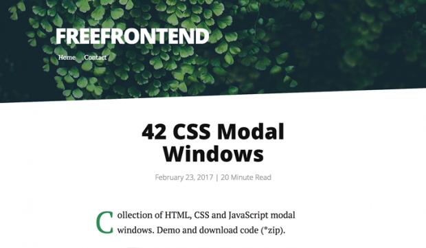 CSSとJavaScriptで出来た様々なモーダルウィンドウを集めたサイト「42 CSS Modal Windows」