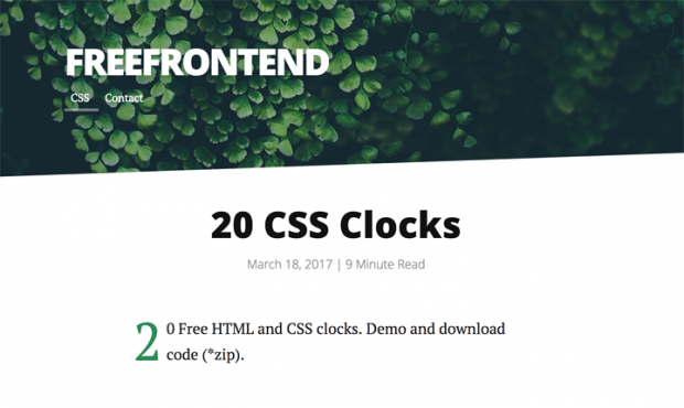 CSSで出来た様々な時計を集めたサイト「20 CSS Clocks」