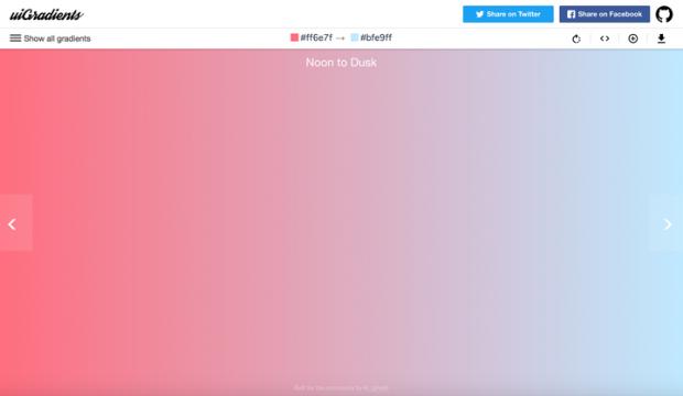 美しいグラデーションカラーを集めたサイト「uiGradients」