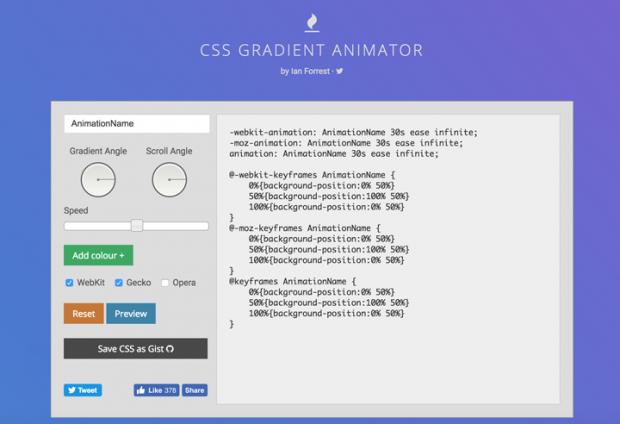 アニメーションするグラデーションを実装できるCSSを生成してくれるサイト「CSS Gradient Animator」
