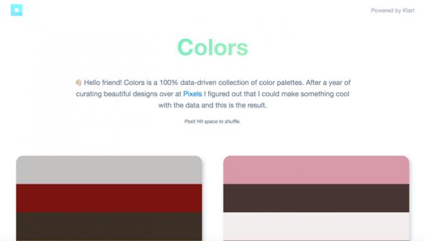 Webデザインギャラリーに掲載したサイトからカラーパレットを作成した「Colors」